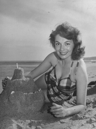 Ruth Roman Actress | Actress Ruth Roman in Bathing Suit at Beach with Sand…