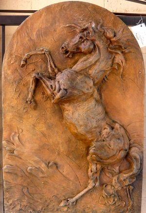 Caballo Del Rio - bas relief, Carol Ruff Franza