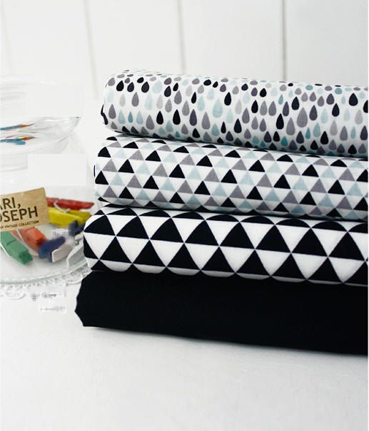 Black and Gray Geometric  Cotton Fabric - Choose From 4 Patterns - By the Yard 56326