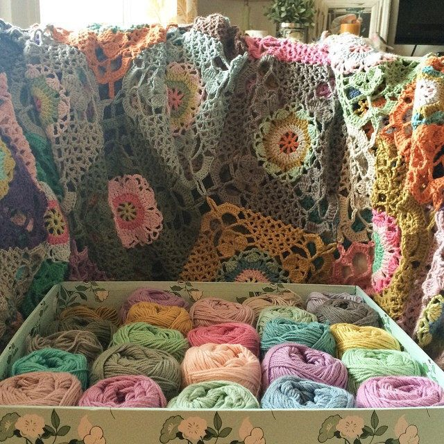 I bought a bit more yarn to finish the #rusticlacesquare blanket. I have made 89 squares so far, and I just love working on this project.