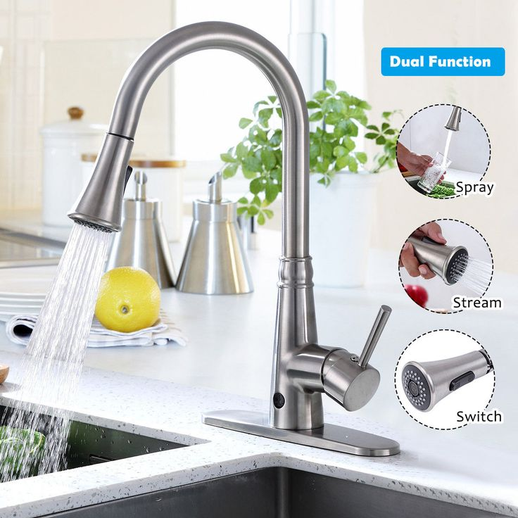 Pull-Down Single Handle Brushed Nickel #Kitchen Faucet This pull down kitchen fa