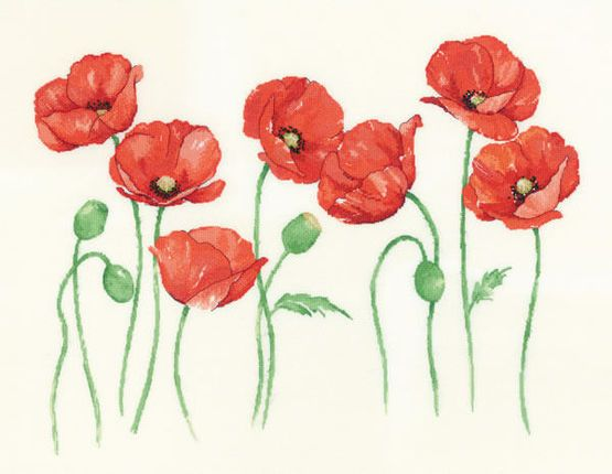 Poppies Cross Stitch Kit £38.50 | Past Impressions | Heritage Crafts