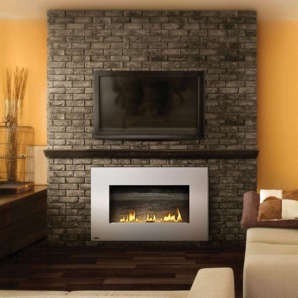 Witching fireplace brick paint ideas using yellow wall Fireplace setting ideas