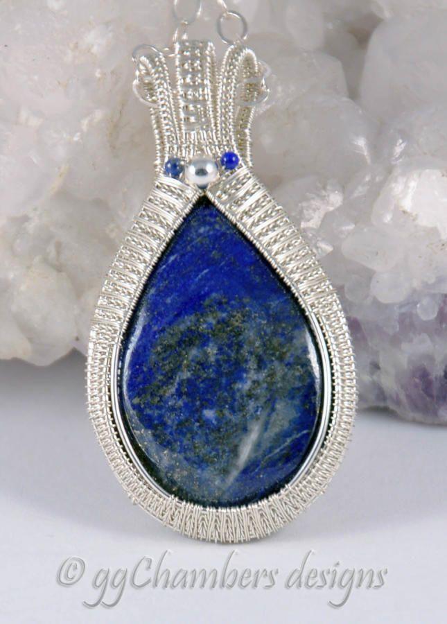 New Feather Frame pendant style - Lapis Lazuli by ggChambers