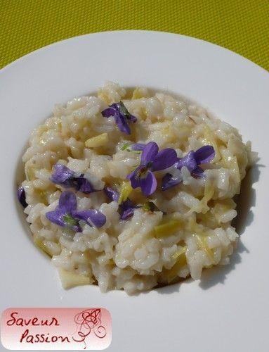 Risotto au poireau et aux violettes