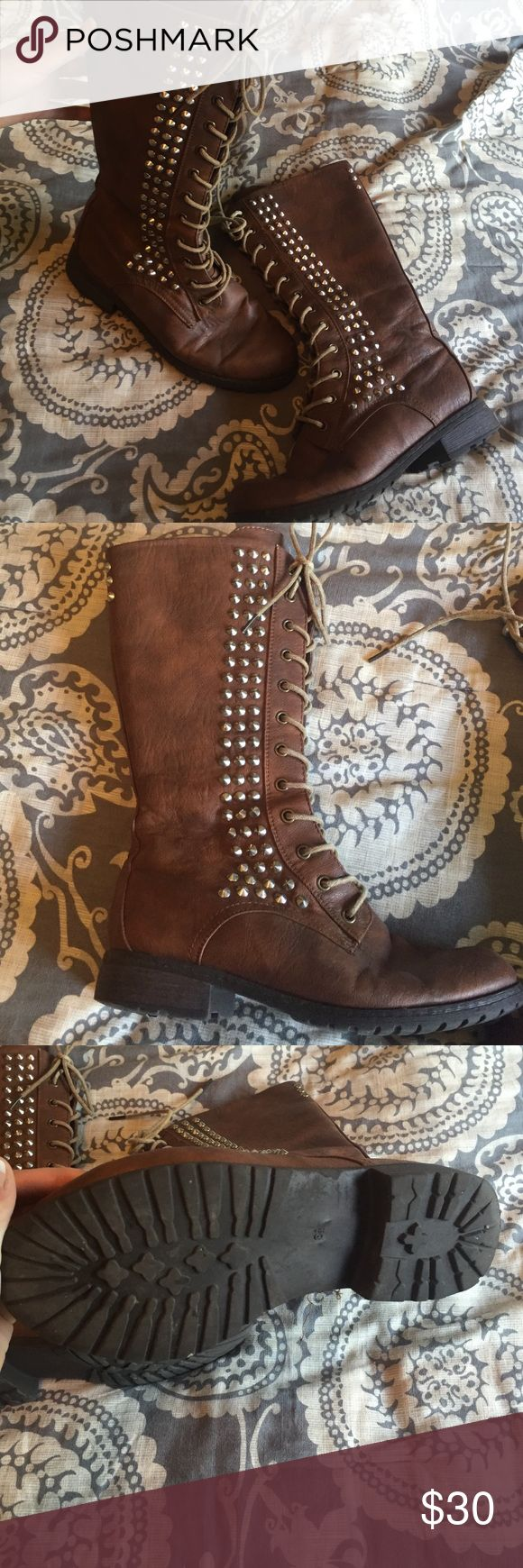Studded combat boots 🍁 Brown studded combat boots! Make an offer! Shoes Combat & Moto Boots