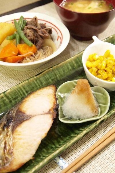 和食】ノンオイル献立!鰆の塩焼き&焼きとうもろこし風コーン&お肉 ...