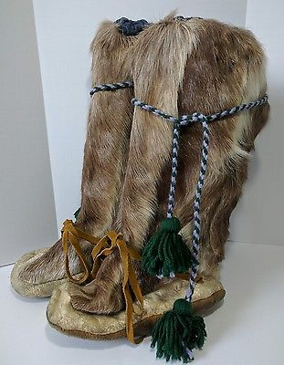 Authentic Vintage Native American Mukluks Fur Boots Inuit Eskimo Yeti