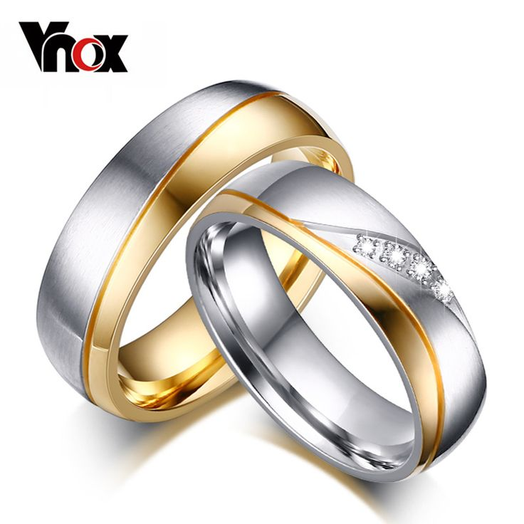Vnox Rings For Women Man Wedding Ring Gold Plated 316l Stainless Steel Promise Jewelry