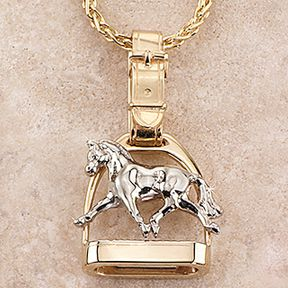 Ashley's Extended Trot Stirrup Necklace, 14k gold, Ashley's Horse Jewelry