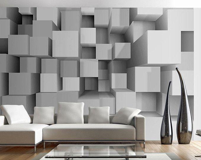 foto tapete wand wandbilder vlies 3d grau quadrate moderne. Black Bedroom Furniture Sets. Home Design Ideas