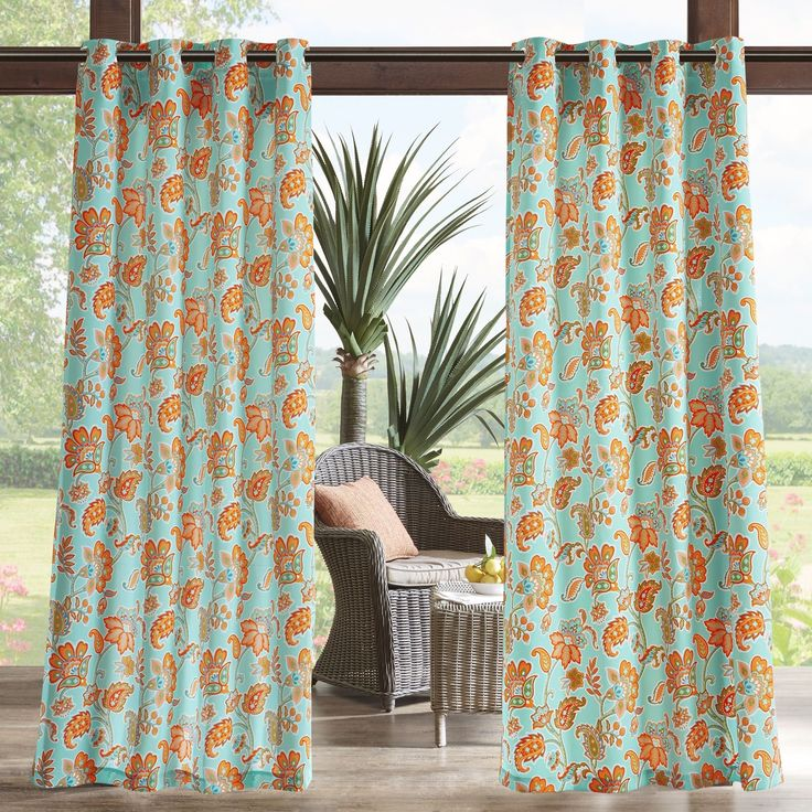 Madison Park Cambria Printed Floral 3M Scotchgard Outdoor Curtain Panel 3 Color Option (95-Yellow Multi), Size 95 Inches, Outdoor Décor