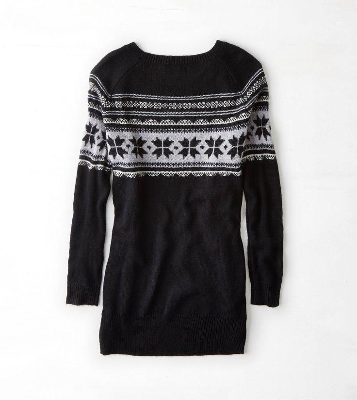 Black AEO Fair Isle Sweater Dress