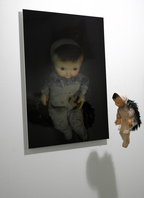 A girl of the hedgehog - assemblage Annukka Mikkola -  photo Sanna Peurakoski Dix Gallery Helsinki 2008