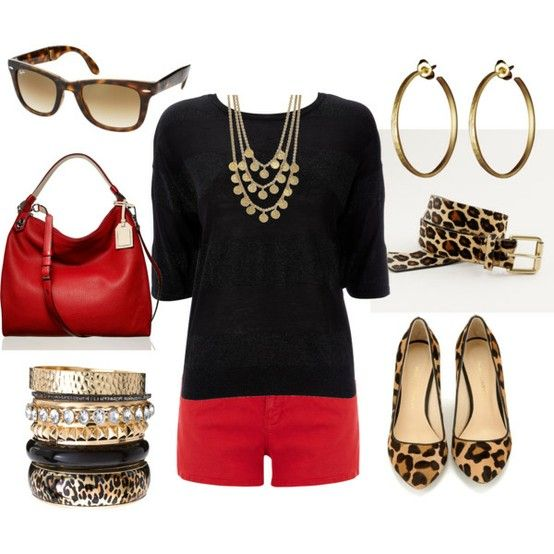 Red and black with leopard: Cheetahs, Outfits, Red Jeans, Animal Prints, Leopards Prints, Red Shorts, Leopards Flats, Red Pants, Red Black