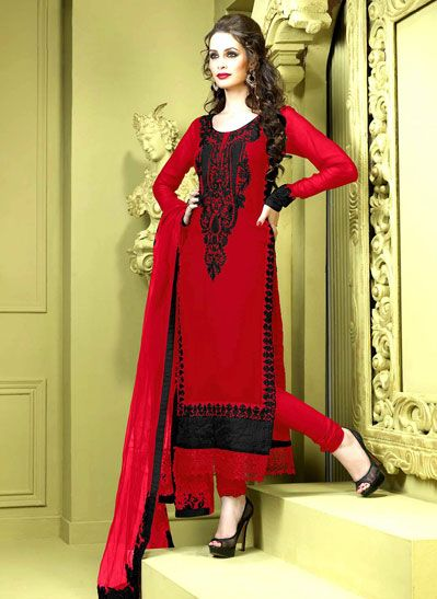 USD 93.57 Red Resham Work Faux Georgette Party Wear Salwar Kameez 36651