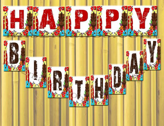 Luau Birthday Banner Instant Download by M2MPartyDesigns