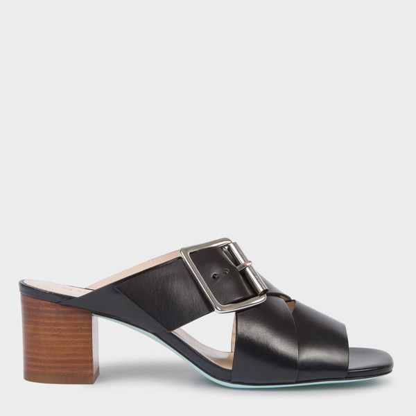 Women's Black Leather 'Kenza' Heeled Sandals ($425) ❤ liked on Polyvore featuring shoes, sandals, black, mid heel sandals, color block sandals, black block-heel sandals, heeled sandals and black mid heel shoes