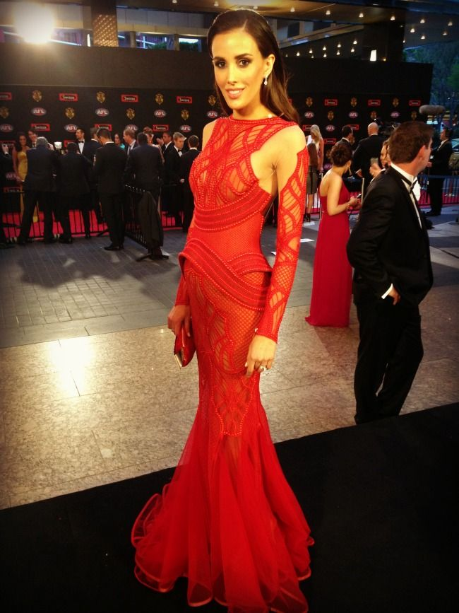 Rebecca Judd in J'aton Couture at Brownlow 2013