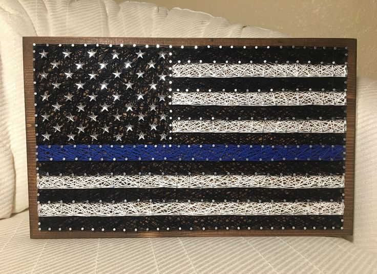 Thin blue line flag string art, LEO, Police- order from KiwiStrings on Etsy! www.kiwistrings.etsy.com