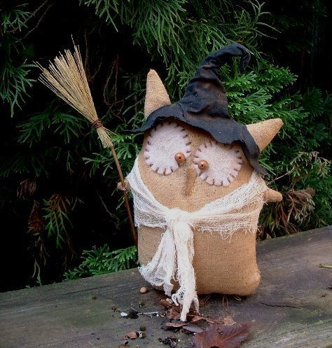 Primitive Folk Art Halloween Owl Witch Doll on Etsy, $25.00