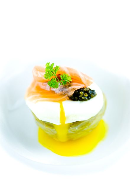 Artichoke Heart, Salmon Cream, Poached Egg, Smoked Scottish Salmon, Osetra caviar