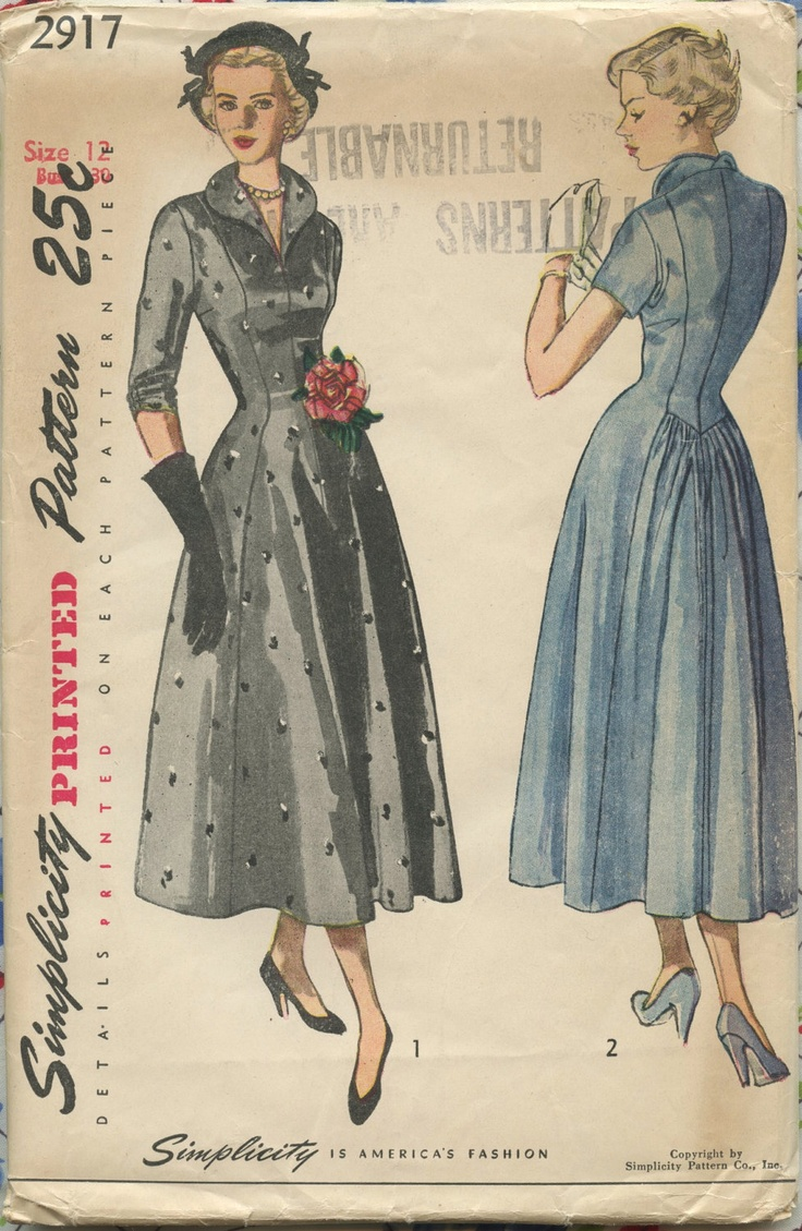 Vintage clothes fashion ads of the 1940s page 22 - 1940s Vintage Sewing Pattern Simplicity 2917 Misses Princess Seam Dress With Gathered Back Bust 30 Uc