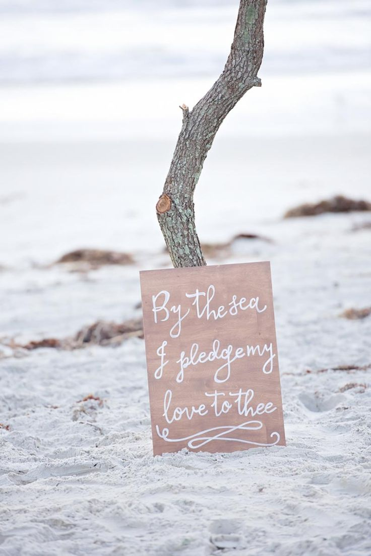 Beach Wedding Ceremony Sign - Breezy and Blue Beach Inspiration Shoot - Orange Blossom Bride - Ponce Inlet Beach - Photographer: Jamie Reinhart Photography - Click Pin for More - www.orangeblossombride.com