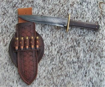 Antique Damascus Bowie Knife For Sale With Custom Knife Sheath Made By