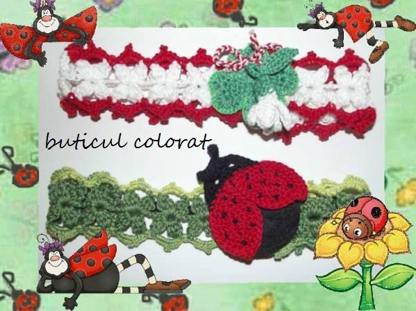 Hair accesorie, crochet headband, hair wreath, bow, spring symbols, hair band for girls, ladybug crochet, snowdrop, clover, martisor by ButiculColorat on Etsy