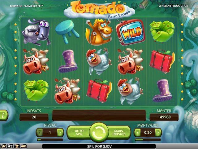 Tornado: Farm Escape er en videospilleautomat med 5 tromler, 3 rækker, 20 linjer, Wild-erstatninger, Tornado-funktion og Storm-funktion.