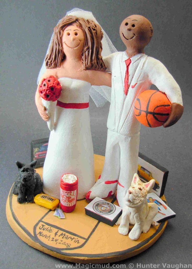 Basketball Wedding Cake Topper for an interracial couple by www.magicmud.com $235  1 800 231 9814  magicmud@magicmud.com  http://blog.magicmud.com  https://twitter.com/caketoppers         https://www.facebook.com/PersonalizedWeddingCakeToppers   #wedding #cake #toppers  #custom #personalized #Groom #bride #anniversary#birthday#weddingcaketoppers#cake toppers#figurine#gift#wedding cake toppers#basketball#interracial