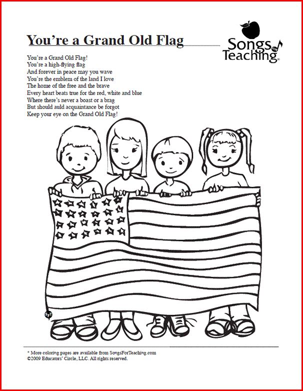 You're a Grand Old Flag: Free Printable Coloring Page from