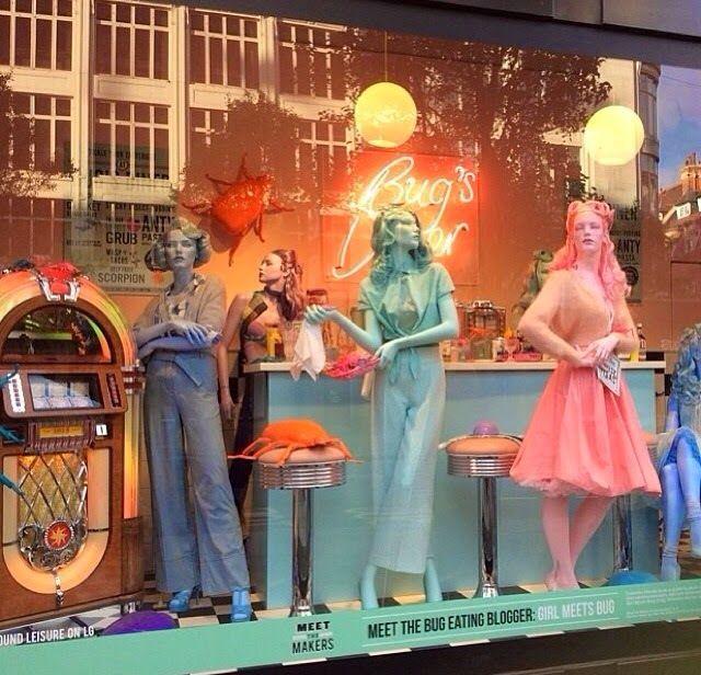 Girl Meets Bug retro window at Selfridge's Oxford Street