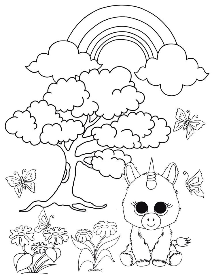 unicorn cat coloring pages | Beanie Boo Coloring Pages: Unicorn in the Enchanted Forest ...