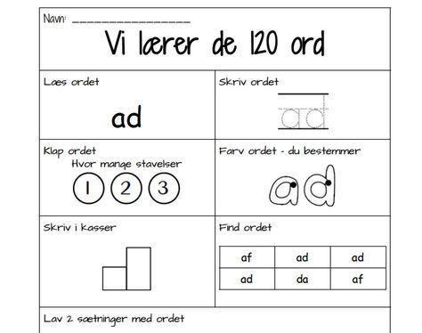 Læs og skriv de 120 hyppigste ord   EMU Danmarks læringsportal