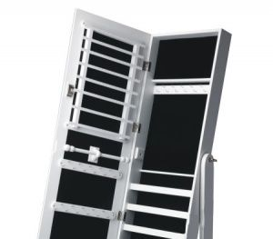 Large Wooden Mirrored Jewellery Storage Cabinet - White - GLD13318WH