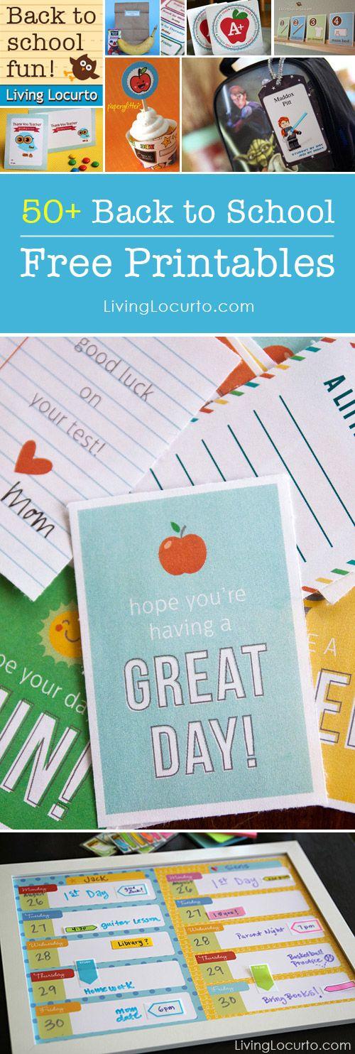Over 50 Amazing Free Printables for School! LivingLocurto.com