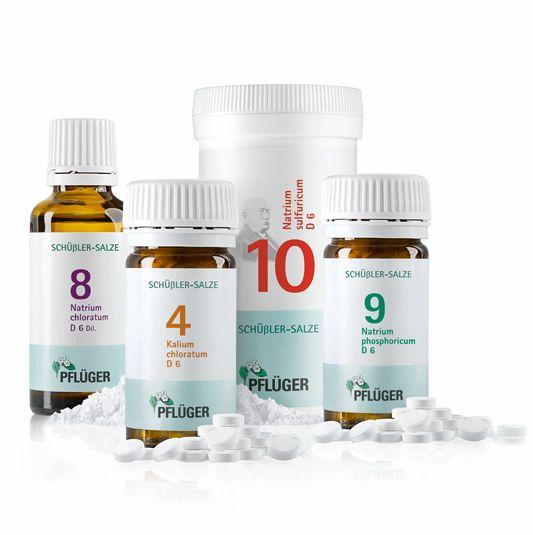 Die Stoffwechsel-Aktiv-Kur von Pflüger,  Schüßler-Salze Biochemie Pflüger® Nr. 4 Kalium chloratum D 6, Schüßler-Salze Biochemie Pflüger® Nr. 8 Natrium chloratum D 6, Schüßler-Salze Biochemie Pflüger® Nr. 9 Natrium phosphoricum D 6, Schüßler-Salze Biochemie Pflüger® Nr. 10 Natrium sulfuricum D 6 Pflichttextangaben http://www.pflueger.de/pflichtangaben.l