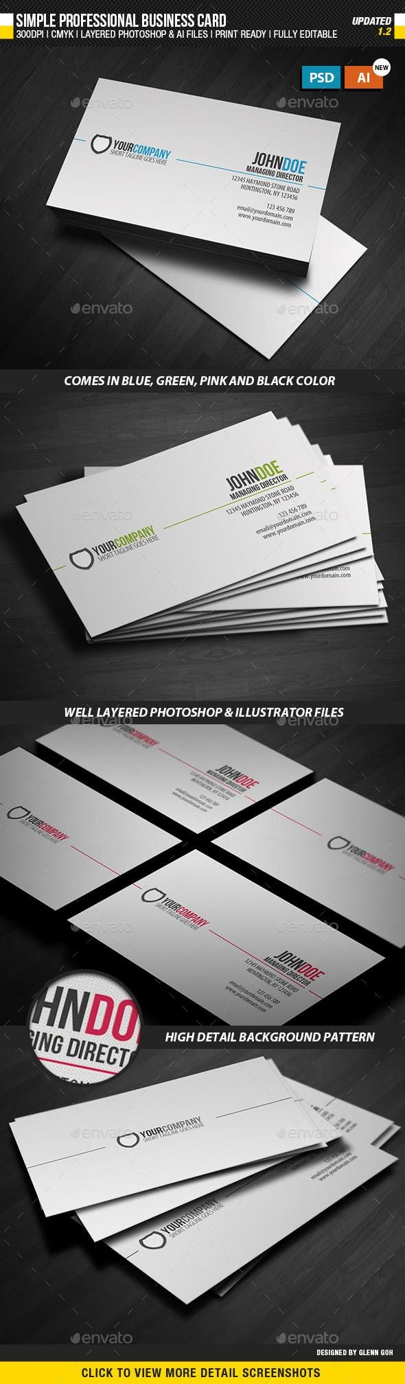 Simple Professional Business Card Business Card Template Design Business Cards Simple Cool Business Cards