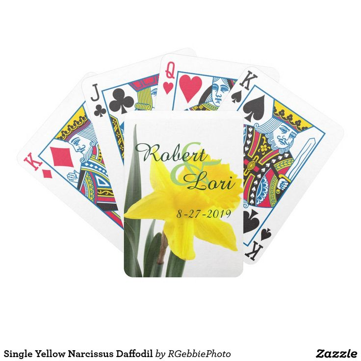 Single Yellow Narcissus Daffodil Bicycle Playing Cards - $26.95 - Single Yellow Narcissus Daffodil Bicycle Playing Cards - by ‪#‎RGebbiePhoto‬ @ zazzle - ‪#‎yellow‬ ‪#‎daffodil‬ ‪#‎flower‬ - A vibrant yellow narcissus daffodil over white. Personalize this line with customizable text! Add Your Name to customize! Symbolizing rebirth and new beginnings, the daffodil is virtually synonymous with spring.