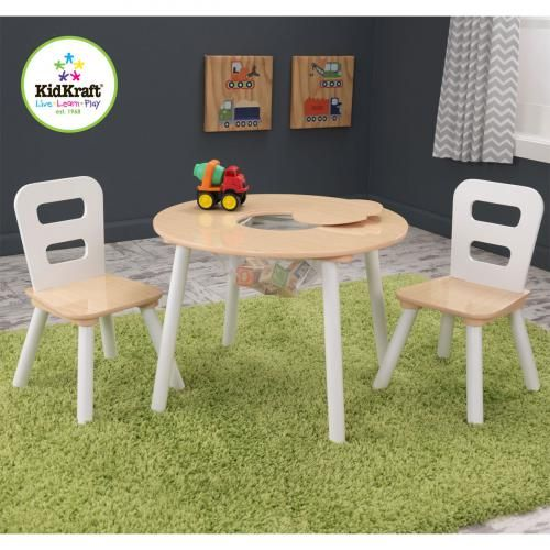 Table Enfant Table Ronde avec Filet et 2 Chaises - Bois et Blanc Table Ronde avec Filet et 2 Chaises - Bois et Blanc