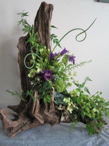 #driftwood arrangement craft DIY centerpiece decor; funeral decorations