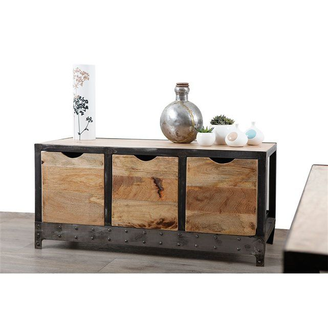 buffet bas en bois massif et m tal industriel atelier. Black Bedroom Furniture Sets. Home Design Ideas