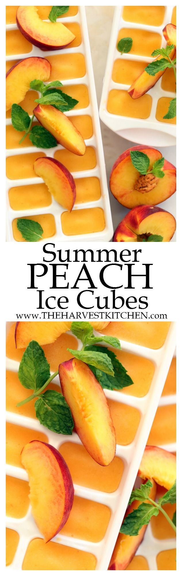 These Summer Peach Ice Cubes scream of summer and they add a delicious pop of flavor to your favorite iced tea. You can use fresh peaches when they're juicy and ripe in season, but frozen organic peaches work just as well.   clean eating     healthy recip (alcoholic drinks recipes)
