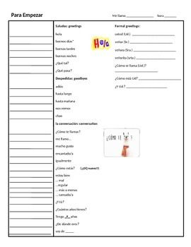 This guided notes packet includes all of the vocabulary and grammar covered for the Para Empezar chapter in the Realidades Spanish I textbook.Topics included:numbers, colors, alphabet, greetings, goodbyes, basic conversationsclassroom object, parts of the body, weather, calendar, telling timegender, articles, t vs.
