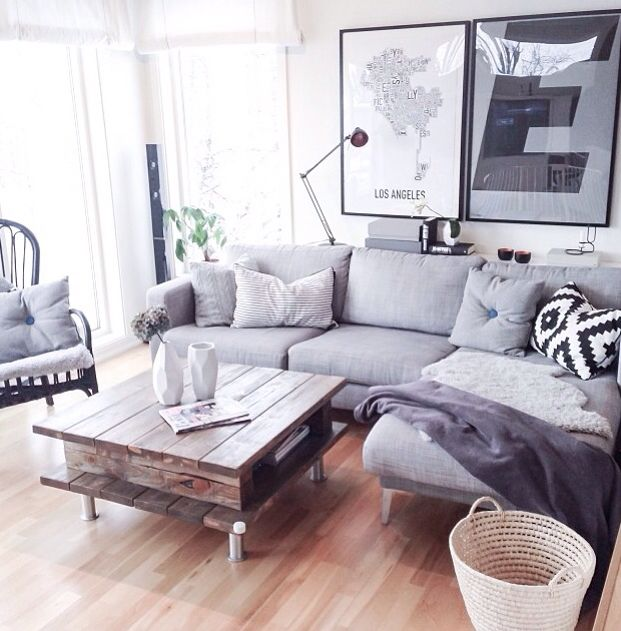 What if we had an l-shape lounge juts like this in the corner, with a coffee table nearby, and then TV on opposite wall + floor cushions?