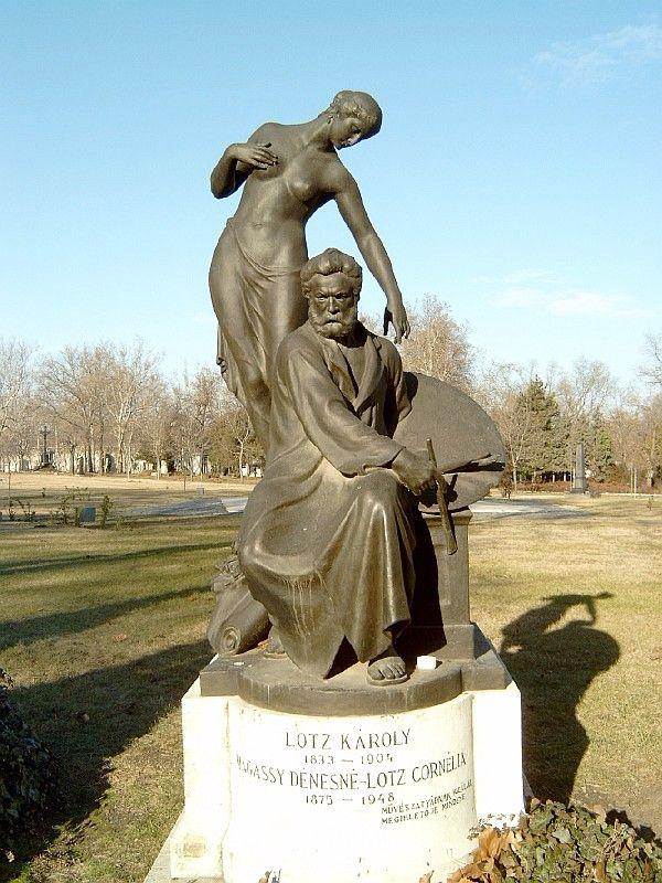 Lotz Károly síremléke a budapesti Kerepesi temetőben (Pásztor János alkotása)