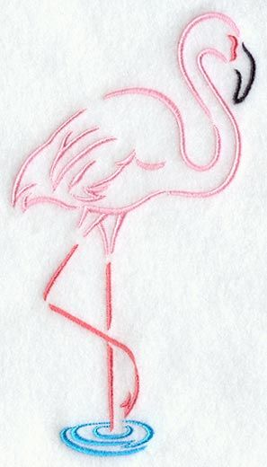 This quick-stitching line art design features a flamingo. Perfect for summer projects, clothing, home décor and much more!