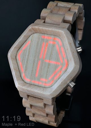 Wooden LED Watch Design with Time, Date & Alarm. Night Vision Wood